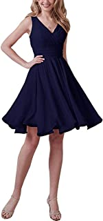 Lily Anny Womens Chiffon Empire Pleated Short Sleeves Wedding Party Bridesmaid Dresses L187LF