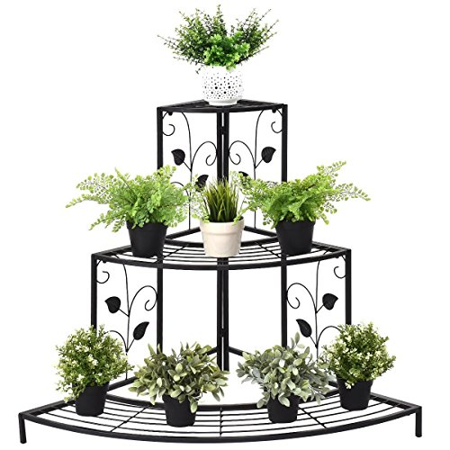 Giantex 3 Tiers Corner Shelf Metal Plant Stand, Stair-Step Style Flower Pot Display, Ladder Plant Display Rack, Quarter Round Plant Shelf for Indoor Outdoor Use