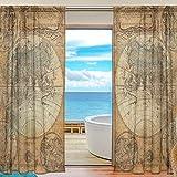 Emoya Lot de 2 rideaux voilages vintage avec motif carte du monde ancien pour chambre à coucher, salon 139,7 x 213,7 cm