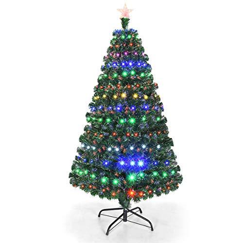 Goplus 5ft Artificial Christmas Tree Pre-Lit Optical Fiber Tree 8 Flash Modes W/UL Certified...