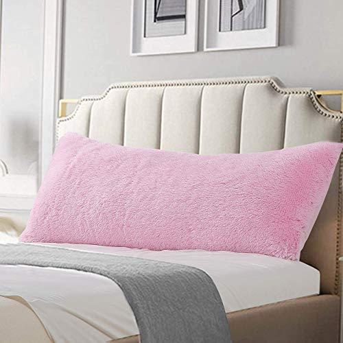 Reafort - Funda de almohada de pelo largo, piel sintética, 53 x 122 cm, con cierre de cierre (rosa, funda de almohada de 51 x 137 cm)