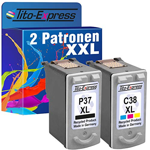 Tito-Express PlatinumSerie Set 2 Patronen kompatibel für Canon PG-37 XL & CL-38 XL | Black 18ml & Color 21ml XXL-Inhalt