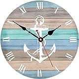 Toudorp Reloj de Pared de 14 Pulgadas con números Romanos, Funciona con Pilas, silencioso, Reloj de Pared Vintage, fácil de Leer, Reloj Decorativo para el hogar (patrón de Ancla de Rayas náuticas)