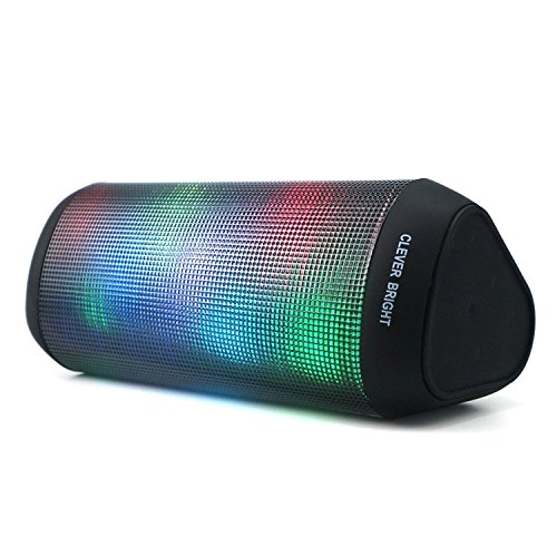 Portable Wireless Bluetooth Speakers 7 LED Lights Patterns Wireless Speaker V4.1 Hi-Fi Bass Powerful Sound Built-in Microphone, HandsFree, Audio-Auxiliary, Home Outdoor Rechargeable Bluetooth Speaker