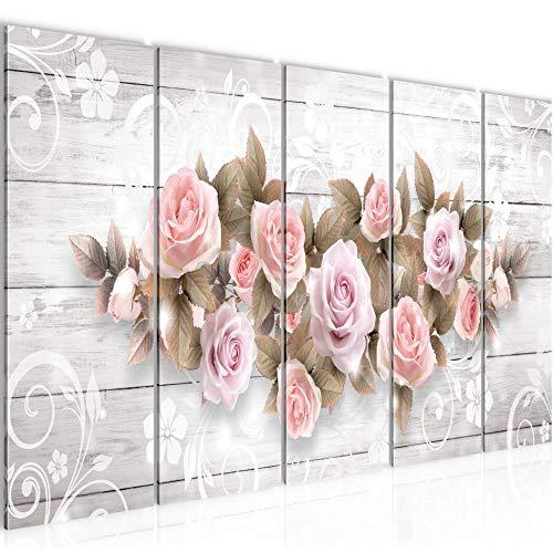 Bilder Blumen Rosen Wandbild 150 x 60 cm Vlies - Leinwand Bild XXL Format Wandbilder Wohnzimmer Wohnung Deko Kunstdrucke Rosa 5 Teilig - MADE IN GERMANY - Fertig zum Aufhängen 022356b