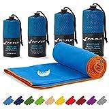 Toalla de microfibra – en todos los tamaños / 18 colores – compacta, ultraligera y de secado rápido – microfibra toalla – toalla de viaje y toalla microfibra gimnasio (40x80cm azul - borde naranja)