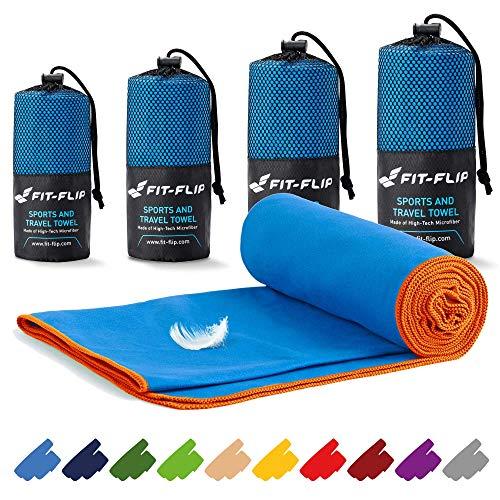 Fit-Flip Mikrofaser Handtücher Set – in Allen Größen / 16 Farben – Ultra leicht & schnelltrocknend – das perfekte Trainingshandtuch, Travel Towel, Strandtuch (40x80cm, Blau mit Orangen Rand)