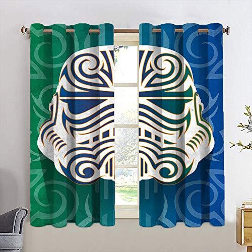 Cortina de ventana Drape St-ar W-a-rs enmascarada Stormtroopers Tribal Backout cortina para dormitorio de niños, decoración del hogar, cortinas de ventana de 55 x 45 cm