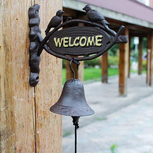 Riyyow Timbre de Hierro Forjado Vintage Welcom Court Court Bell Wall Decoration Door Front Bell Crafts 24x10x28cm