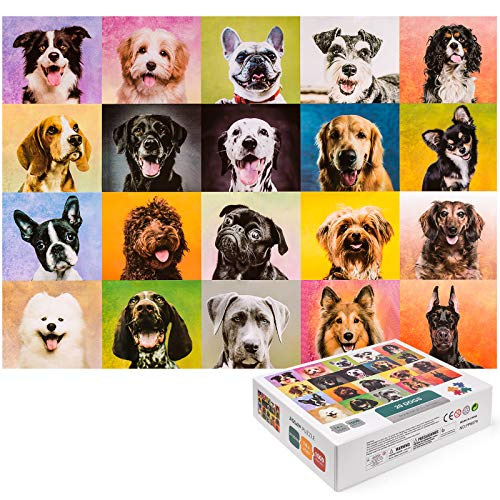 1000 Piece Peak Dog Jigsaw Puzzles, PYBBO Joyful Dogs Puppy Puzzles Educational Family Game Toys Gift for Adults, Teens and Kids(27.6x19.7inch)