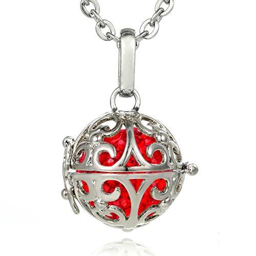 Morella® Damen Halskette Edelstahl 70 cm mit Ornament Anhänger und Klangkugel rot Ø 16 mm in Schmuckbeutel