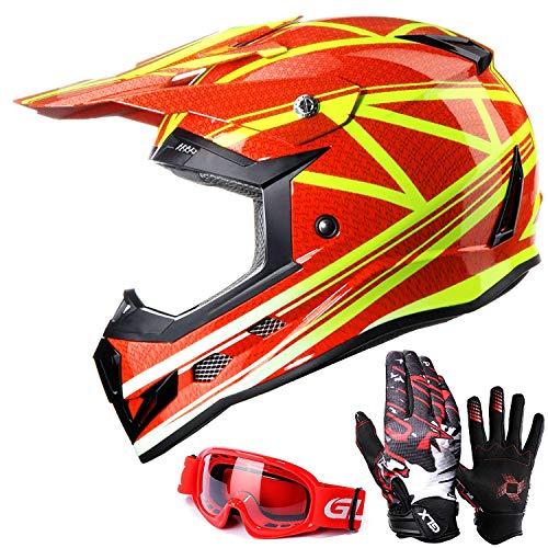 GLX Unisex-Child GX623 DOT Kids Youth ATV Off-Road Dirt Bike Motocross Helmet Gear Combo Gloves Goggles for Boys & Girls (Digital Orange, Medium)