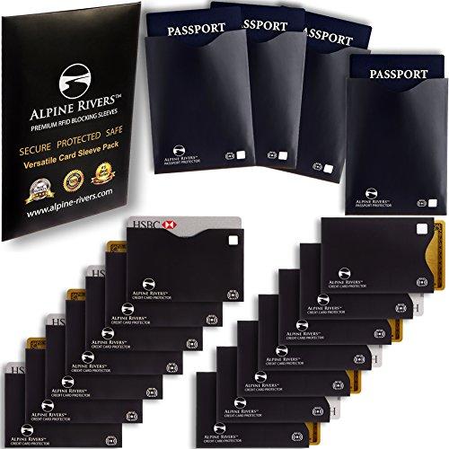 18 RFID Blocking Sleeves (14 Credit Card Holders & 4 Passport Protectors) Ultimate Premium Identity Theft Protection Set for Men & Women. Smart Slim Design fits Wallet / Purse (Versatile Pack)