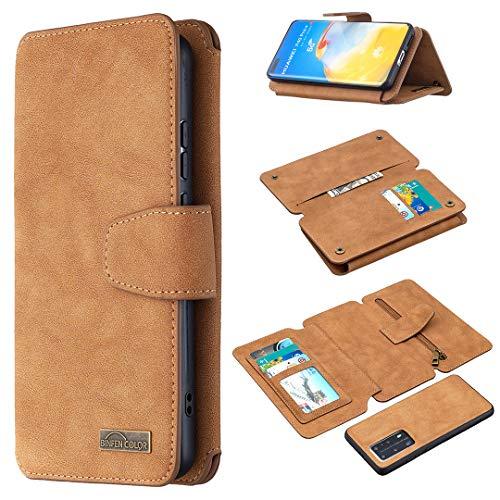 Snow Color Huawei P40 Pro Hülle, Premium Leder Tasche Flip Wallet Case [Standfunktion] [Kartenfächern] PU-Leder Schutzhülle Brieftasche Handyhülle für Huawei P40Pro - COBFE080249 Braun