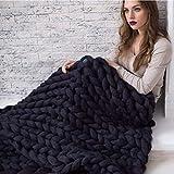 ASY Manta de punto gruesa hecha a mano, suave, gruesa, para sofá, para decoración de dormitorio, cama, cama, sofá, mascota, esterilla de yoga, color negro, 150 x 150 cm