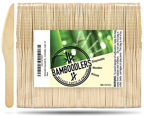 "Disposable Wooden Knives by Bamboodlers | 100% All-Natural, Eco-Friendly, Biodegradable, and Compostable - Because Earth is Awesome! Pack of 100-6.5"" Knives."