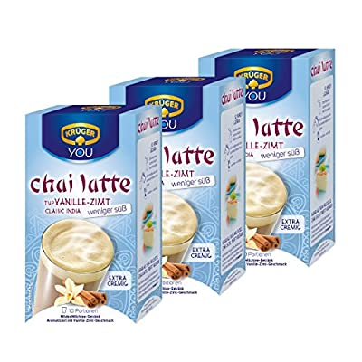 Krüger Chai Latte Classic India weniger süß, Vanille-Zimt, mildes Milchtee Getränk, 3er Pack, 3 x 10 Portionsbeutel