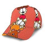 Garfield - Gorra de béisbol de algodón suave para exteriores, tamaño trasero, se puede ajustar, color negro
