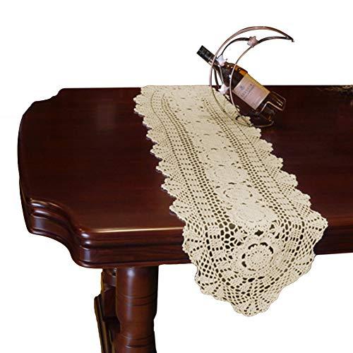 Yazi Chemin de table ovale en coton pour décoration de fête de mariage Beige 30 x 90 cm
