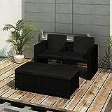 Festnight Set de Muebles de Jardín para 2 Personas Sofá para Exteriores Polyrattan Mueble para Terraza