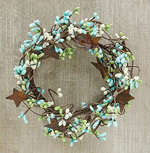 NIMBOD - Accessories Floral Décor Supplies for Wreath Candle Ring 4' Diameter - Pip Berry in Seabreeze - Rusty Tin Stars for Christmas Decorations, Wall, Door, Home Décor