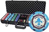 JUNEJULY Juego de Chips de póker de Casino de 500 Piezas en una Caja de Aluminio 12 Chips de cerámica de gramo para Texas Holdem Blackjack Gambling - Sin Valor Nominal