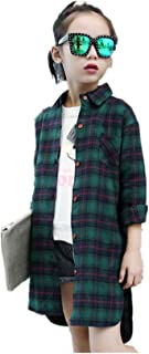 子供服 キッズ 女の子 カジュアル チェック 柄 長袖 チュニック シャツ ワンピース レッド グレー
