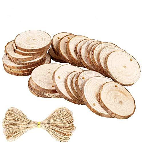Rebanadas de madera natural, 30 piezas de kit de rebanadas de madera redondas sin terminar con agujeros y línea de yute, adornos para manualidades para el día de la madre, boda, decoración del hogar