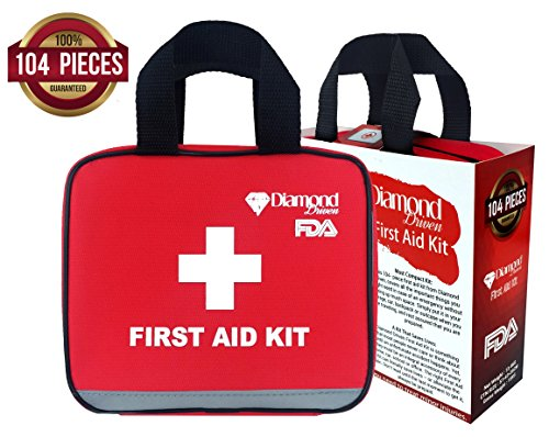 Diamond First Aid Kit for Emergency and Survival Situations, 104 Pieces