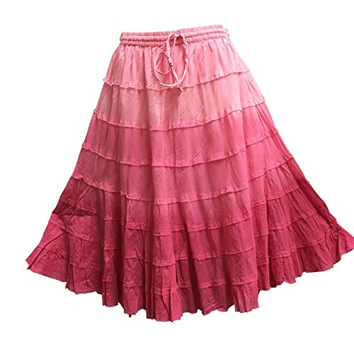 Yoga Trendz Missy Bohemian Gauze Cotton Tiered Crinkled Broomstick Skirt Ombre Mid Length (No6 Fuschia Pink)
