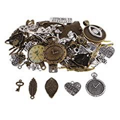 P Prettyia 100 Gram DIY Assorted Color Antique Metal Steampunk Charms Pendant for Crafting, Cosplay Decoration,Jewelry Making Accessories #1