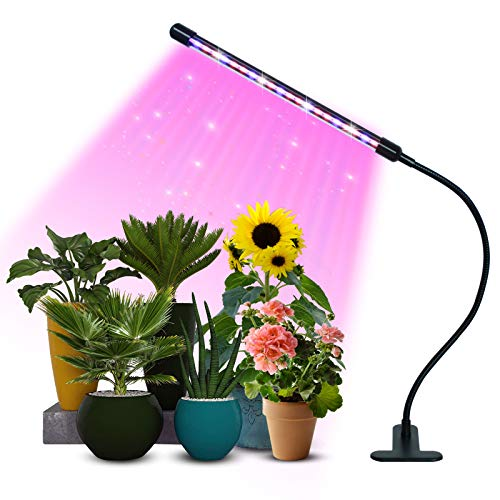 PCCOOLER Grow Light, 1 Heads Timing & 20 LEDs & 9 Dimmable Settings, Horizontal Plant Growth Lamp for Indoor Plants with Red/Blue Spectrum, Adjustable Gooseneck, 3/9/12H Timer, 3 Switch Modes