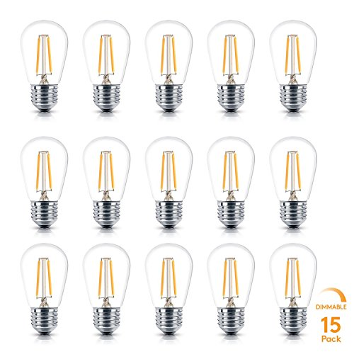 Brightech Ambience PRO LED S14 2 Watt Soft White 2700K Dimmable Bulb - Equal to 20-25W Incandescent Bulbs - Outdoor String Lights