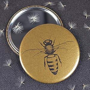 Handgemachter Honigbienenspiegel. Ideales kleines Geschenk für Imker. Goldenes Honigbienengeschenk. Taschenspiegel.