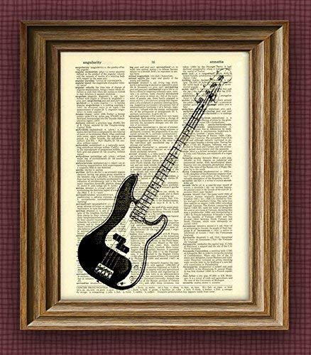 Fender Precision Electric Bass Guitar Illustration Beautifully Upcycled...