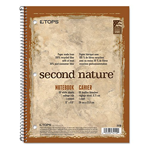Second Nature Subject Wirebound Notebook, College Rule, Ltr, WE, 50 Sheets