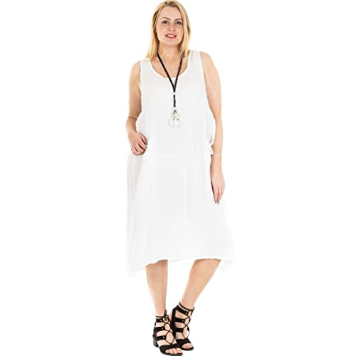 1d2cac37851ca9 Love My Fashions New Ladies Womens Italian Lagenlook Quirky One Side Pocket Sleeveless  Linen Tunic Dress