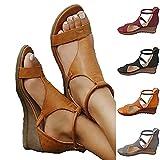 2021 Nuevas sandalias de primavera y verano para mujer, Sandalias de cuñas transpirables de color sólido, Sandalias de plataforma de cuñas de tobillo, Sandalias de tacón de estilo retro de toe abierto