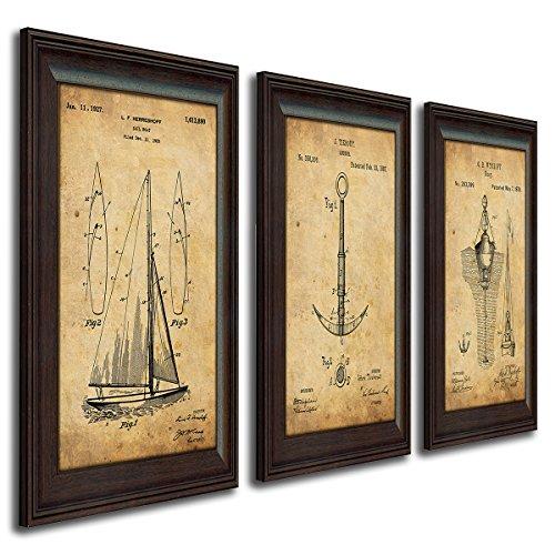 Nautical Sailing Vintage Patents - Sailboat, Anchor, Buoy (3pc Set)