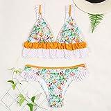 DKNBI Ruffle Bikinis Print Biquini Swimwear Women Sexy Biquines Feminino Swimsuit Women's Beach Bikini Set