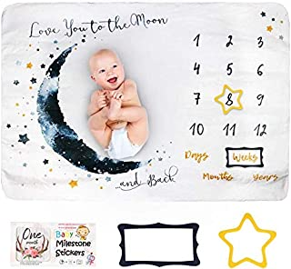 Innoo Tech Baby Monthly Milestone Blanket Boy - Baby Photo Blanket for Newborn Baby Shower, Monthly Blanket for Baby Pictu...