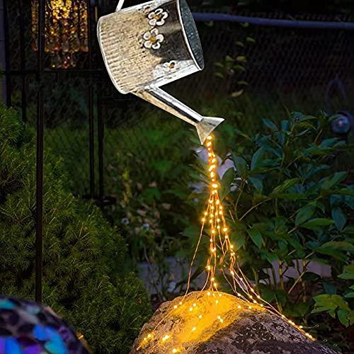 woyada Cascada Solar Montón de Hadas Luces al aire libre Impermeable Artístico Jardín Arte LED Luz al aire libre Jardín Hada Luz Decoración al aire libre con Regadera
