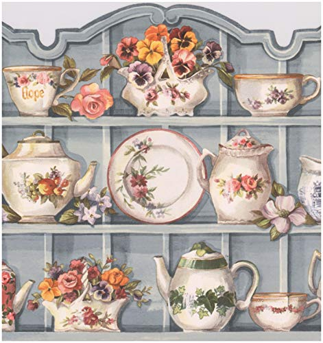 Silver Grey Kitchen Cabinets with Plates Cups Flowers Kettle Wide Wallpaper Border Vintage Design, Roll 15' x 9.75''