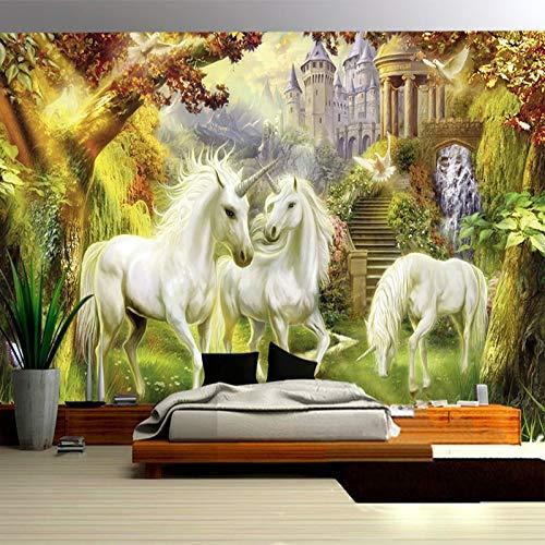 Papel pintado mural imagen 3D Fantasy Fairy Forest Unicorn White Horse Castle Mural Estilo europeo 3D Photo Wallpaper Mesita de noche Sala de estar Decoración para el hogar 3D Fresco