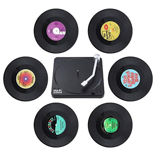 Coolty 6 Stück Retro Vinyl Schallplatten Untersetzer, rutschfeste Tasse Matte, Isolierte Kaffee Getränke Untersetzer mit Halter für Tassen Tisch Bar Glas Gläser mit Halter