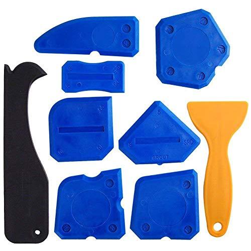 Summerwindy - Juego de 9 herramientas selladoras de silicona para eliminar el calafateo, herramienta de sellado para baño, cocina y marcos