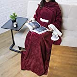 PAVILIA Deluxe Fleece Blanket with Sleeves for Adult, Men, and Women| Elegant, Cozy, Warm, Extra Soft, Plush, Functional, Lightweight Wearable Throw (Wine)