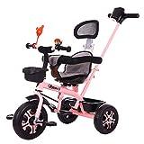 Triciclo Baby,Triciclos Bebes 1 AñO +18 Meses Triciclo con Pedales Plegable Barra Telescópica para Padres Triciclo de Empuje, Pink