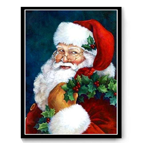 DIY 5D Diamond Painting Full Kits, Drill Santa Claus Crystal Rhinestone Embroidery Pictures Arts Craft Gift Included for Home Wall Decor