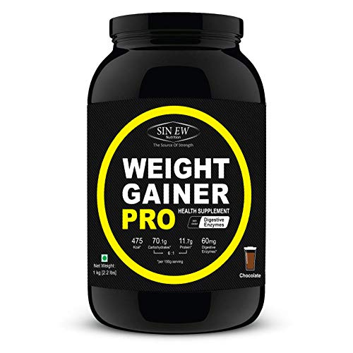 Sinew Nutrition Weight Gainer Pro with Digestive Enzymes - 1 kg (Chocolate)